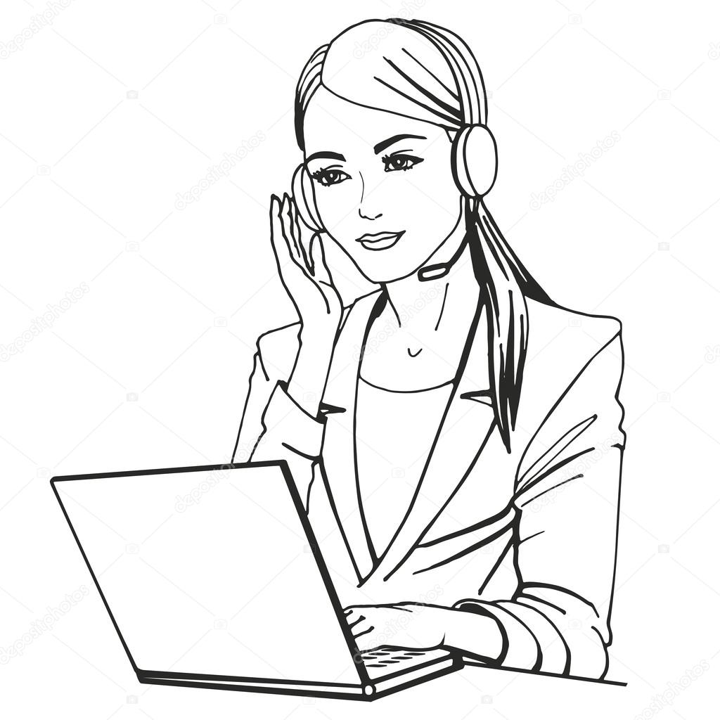 1024x1024 Vector Illustration Of A Secretary With Headphones Stock Vector