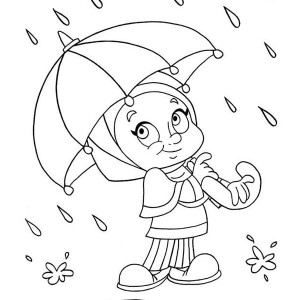 Girl With Umbrella Drawing
