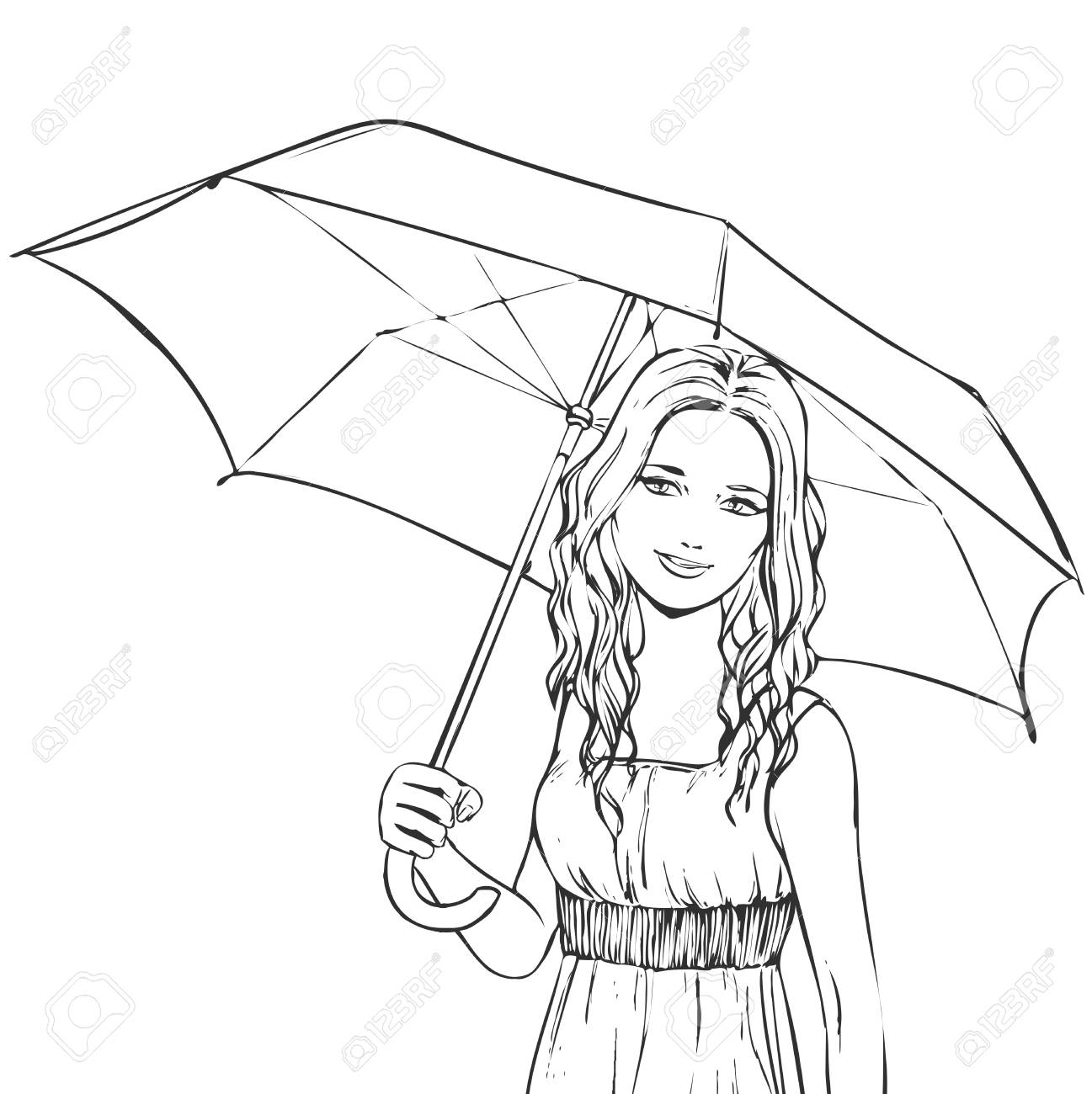 1297x1300 Summer Portrait Of Young Slim Beutiful Girl Under Umbrella