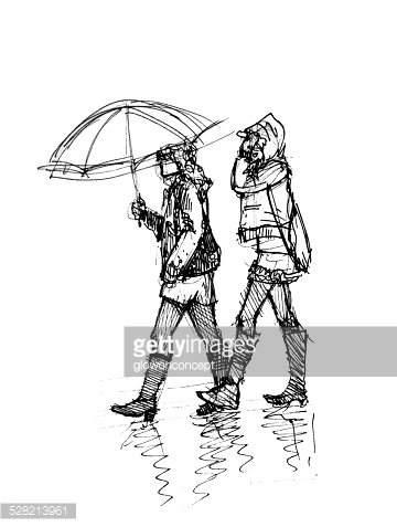 360x477 Two Girl Walking In The Rainy Day Illustration Stock Vectors