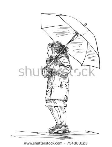360x470 Vector Sketch Of Little Girl With Umbrella, Hand Drawn