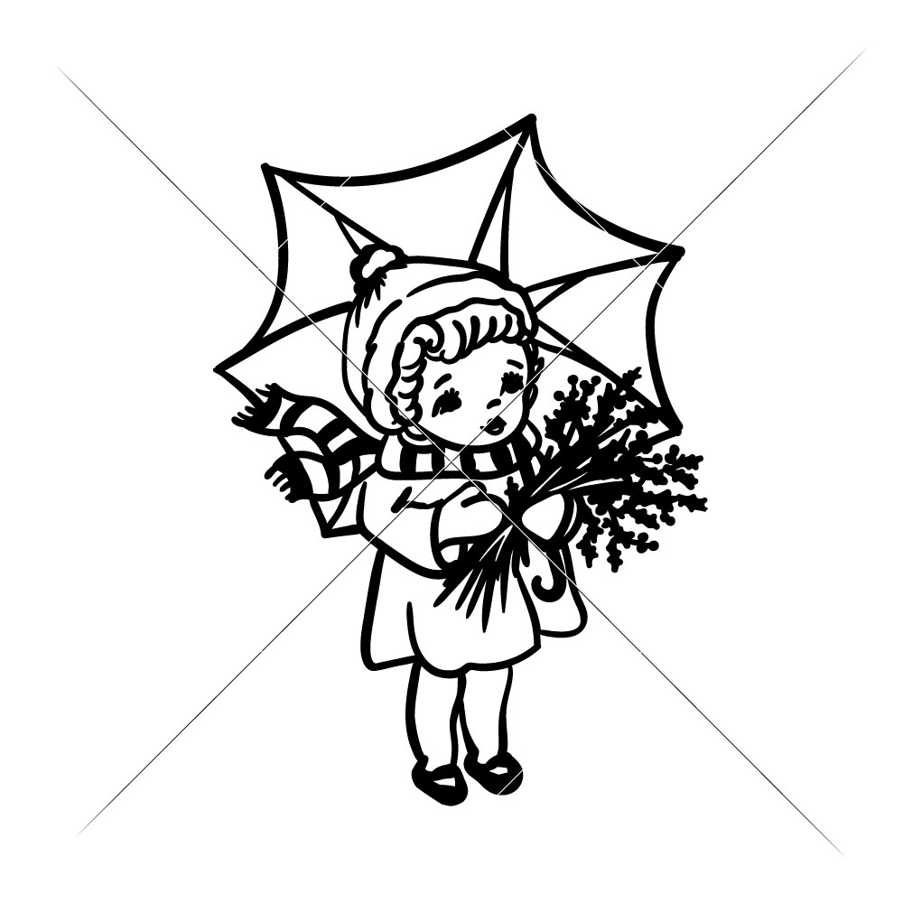1000x1000 Vintage Girl With Umbrella