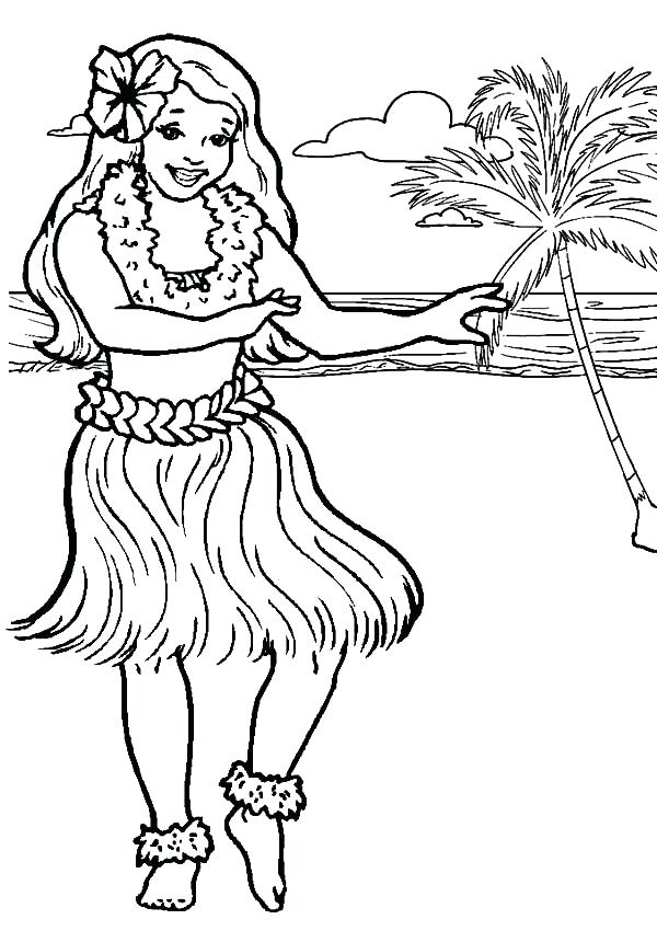 600x850 Wanted Hula Girl Coloring Page Beach Umbrella Pages Dancing