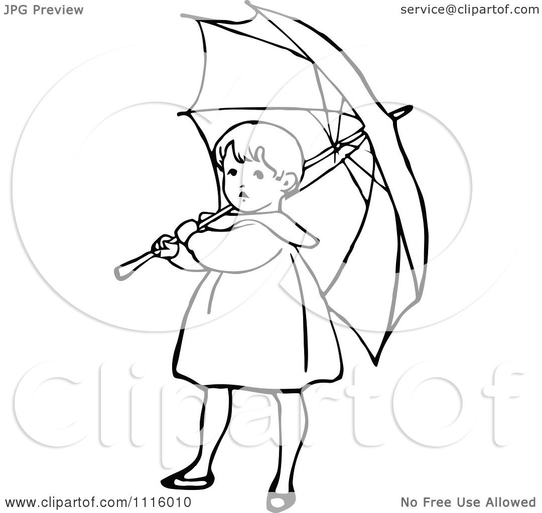 1080x1024 Clipart Retro Vintage Black And White Girl With An Umbrella 1