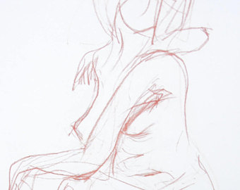 340x270 Original Nude Drawing Female Sketch In The Studio Nude Body