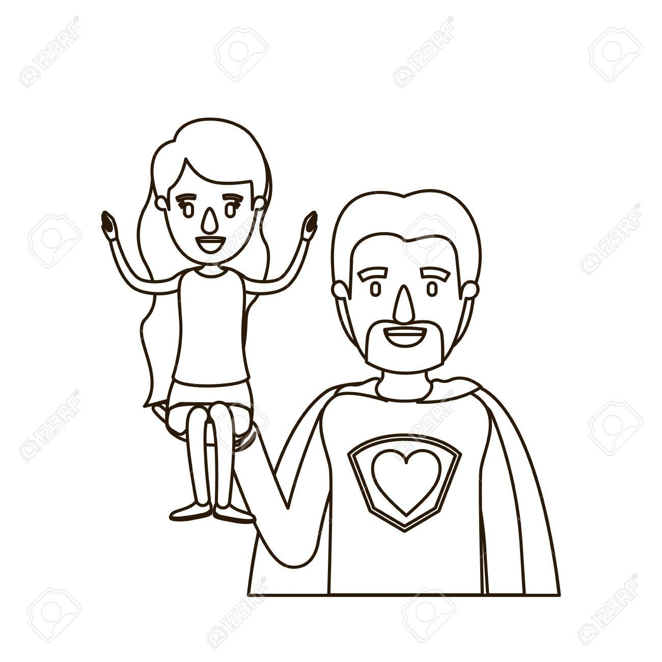 1300x1300 Sketch Contour Caricature Half Body Super Dad Hero With Girl