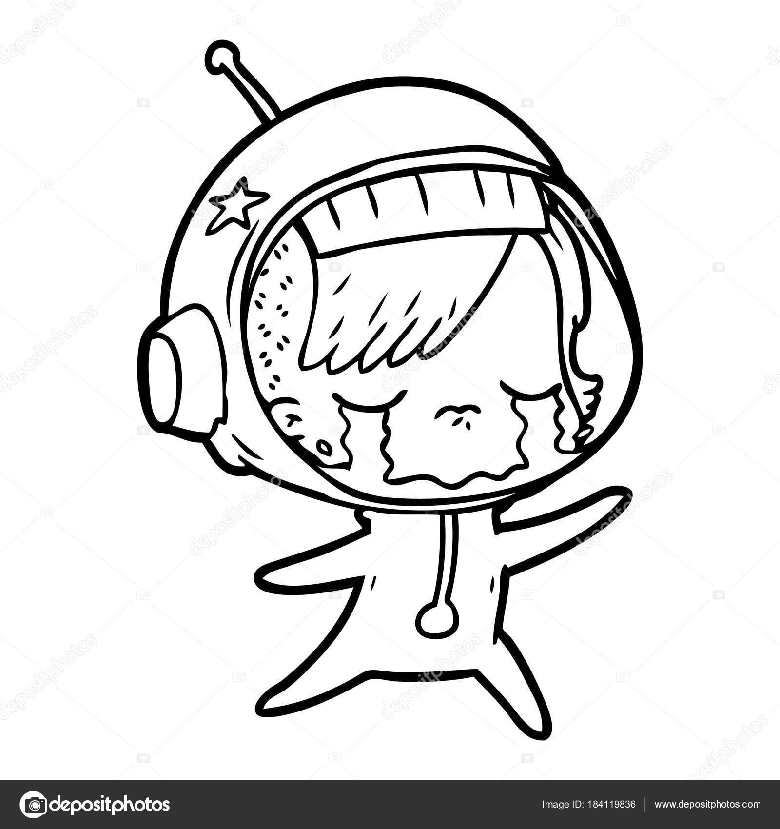 1600x1700 Cartoon Crying Astronaut Girl Stock Vector Lineartestpilot