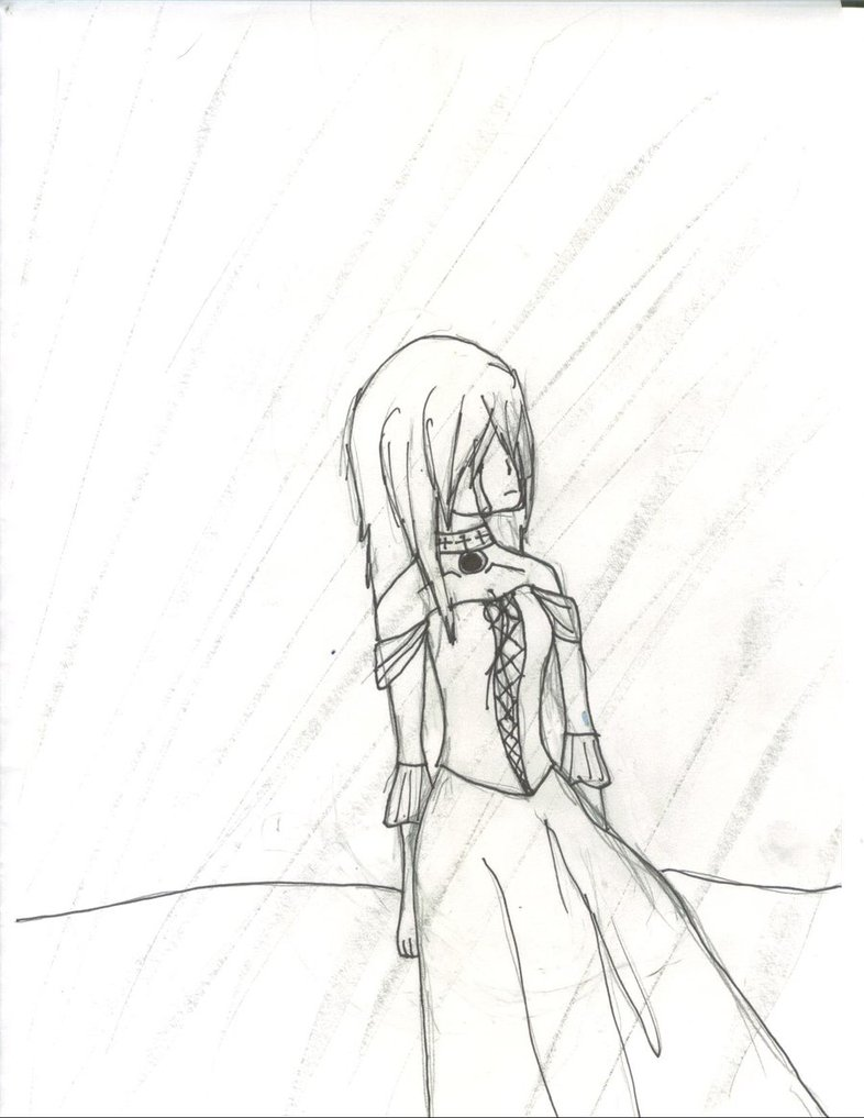 786x1017 Girl Crying In The Rain Alone Drawing