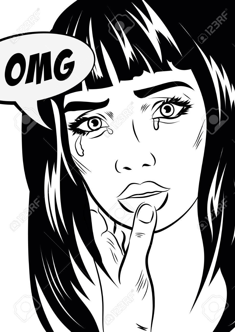 919x1300 Girl Crying Woman Face. Pop Art Retro Style. Human Emotions