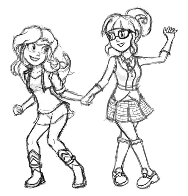 Girls Dancing Drawing