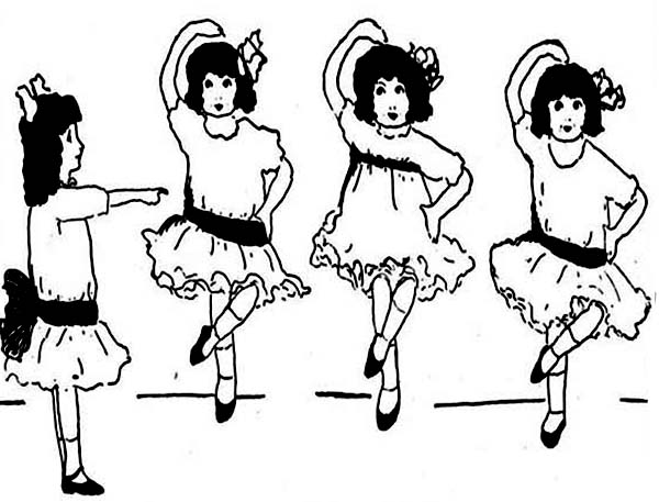 600x457 Group Of Little Girls Learn Ballet Dance Coloring Page Coloring Sun