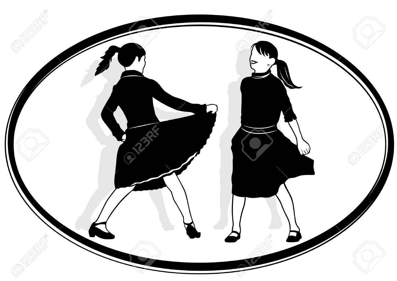 1300x919 Two Girls Dancing. Black And White Illustration. Royalty Free