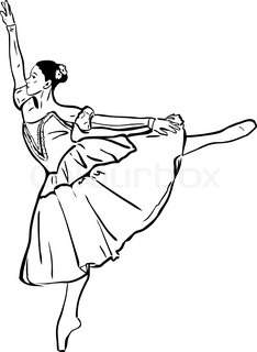 234x320 Black And White Vector Sketch Of A Girl Dancing The Cancan Skirt