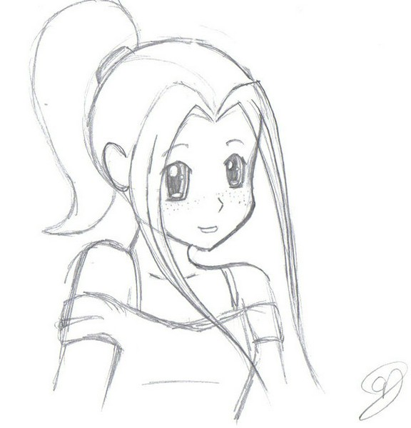 576x599 Drawn Anime Simple