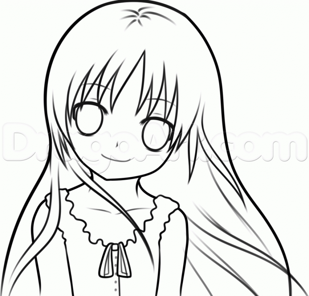1024x979 Easy Anime Girls To Draw Coloring Pages Easy Anime Drawings Girl