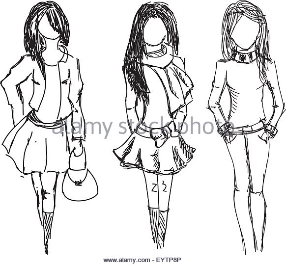 582x540 Scarf Blouse Drawing Sketch Stock Photos Amp Scarf Blouse Drawing