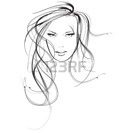 402x450 Girl Face With Beautiful Hair, Vector Sketch Royalty Free Cliparts