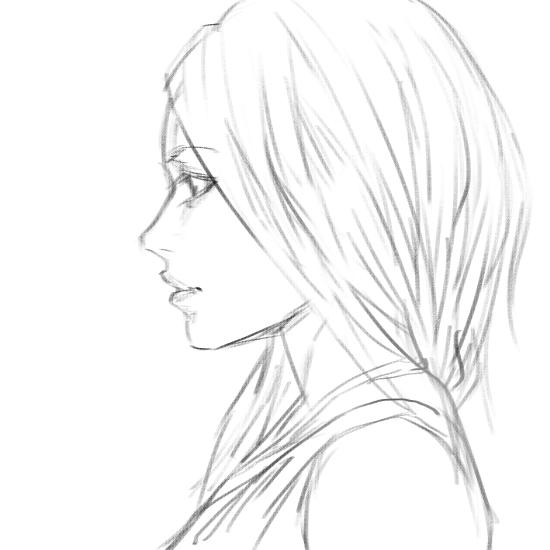 550x550 Girl Side View Sketch By Bunsyo