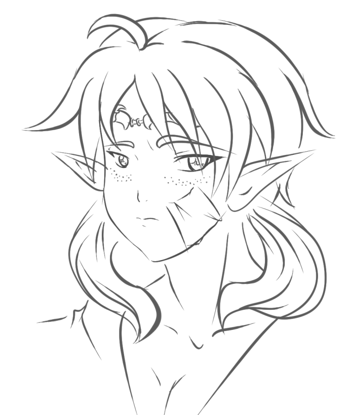 691x820 Sketch Elf Girl Face Oc Archer Or Caster By Yamibaal
