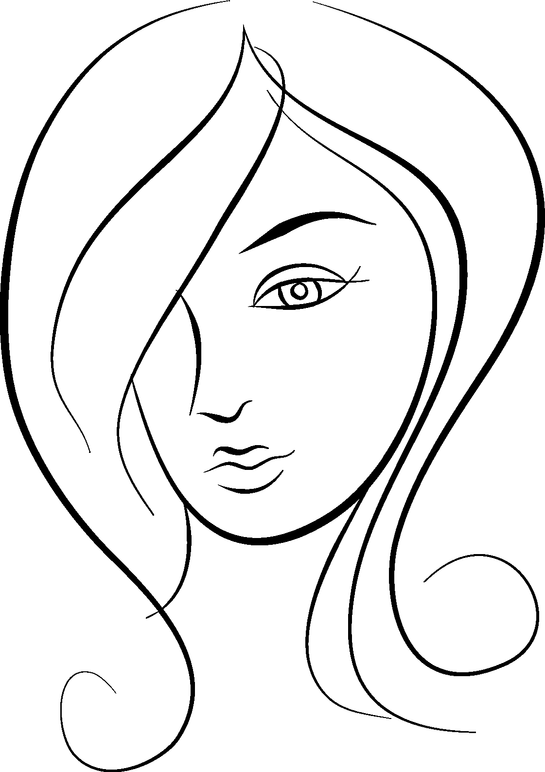 1121x1587 Girl Face Drawing Clipart