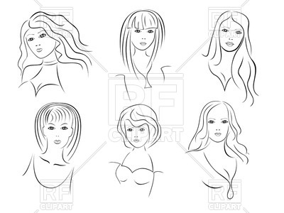 400x300 Portraits Of Beautiful Young Women In Contour Style