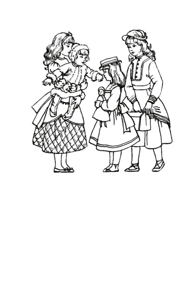 girl celebrating coloring page free 634x946 children in costume history 1860 70