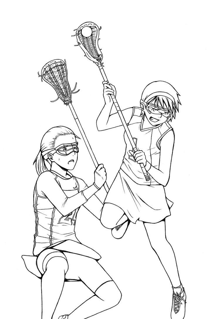 736x1085 Girls Lacrosse By Kikaiart