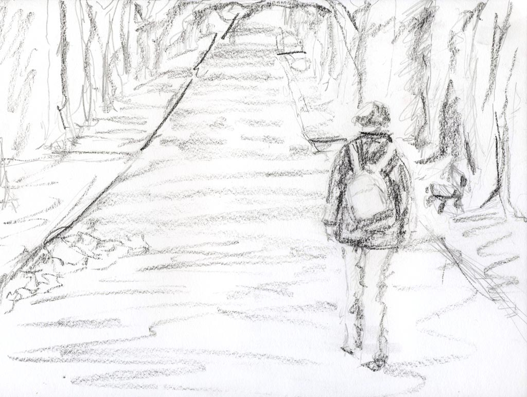 1024x772 Alone Pencil Sketch Alone A Girl Was Sitting Pencil Sketch