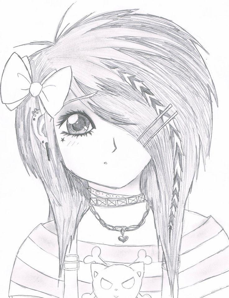 736x958 anime cute girl pencil drawing