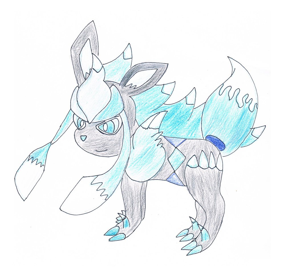 1024x967 Glaceon And Zoroark Fusion Drawing By Dragongrasstrainer