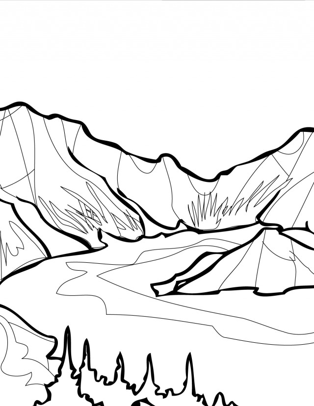 640x828 Mountains And Glaciers Coloring Page