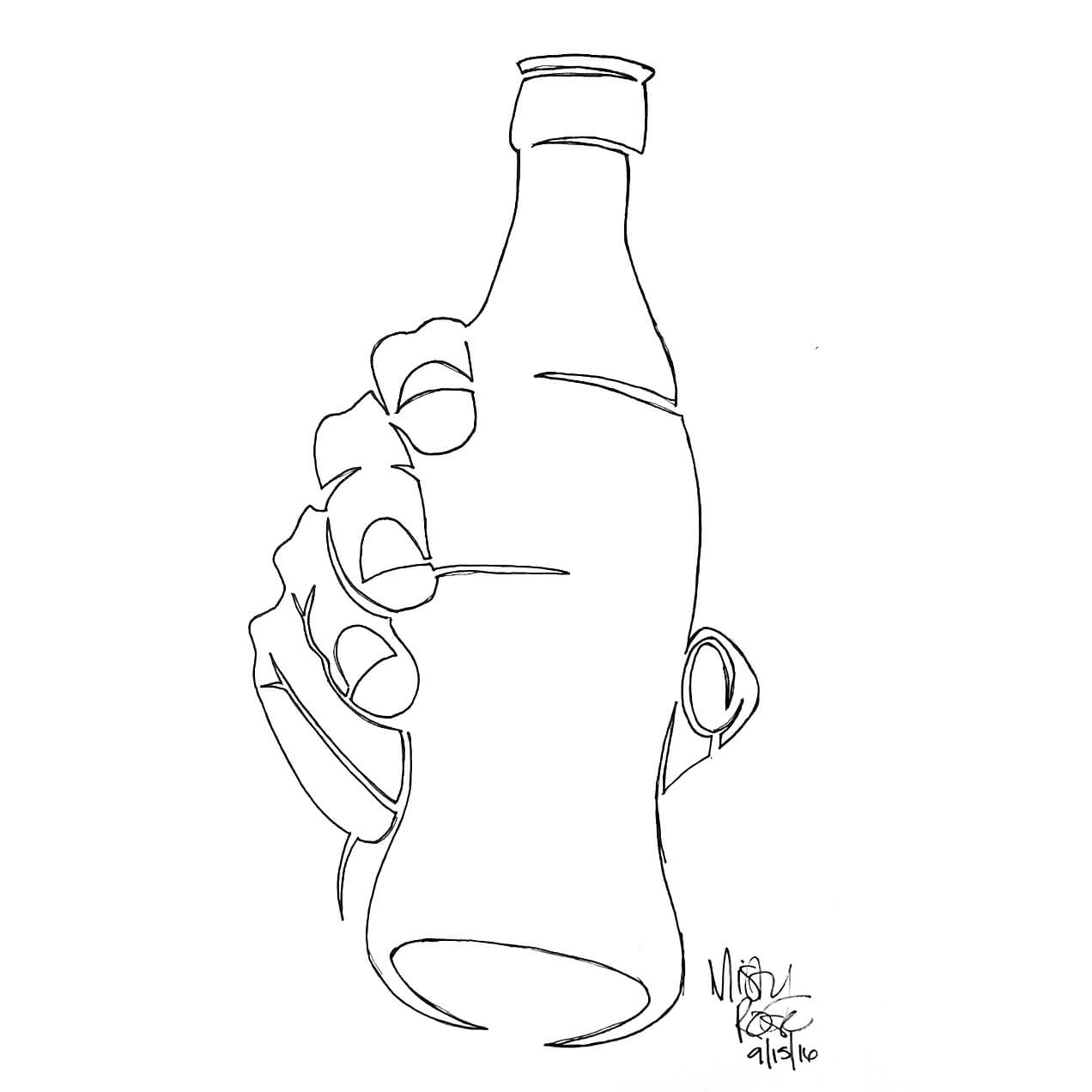 1272x1272 Continuous Line Drawing Hand Holding Soda Bottle