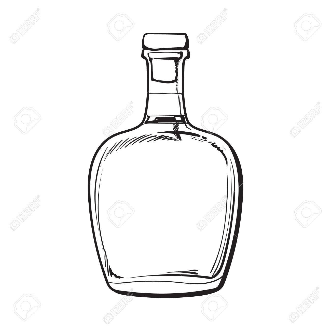 1300x1300 Full Jamaican Rum Bellied Bottle, Sketch Style Vector Illustration
