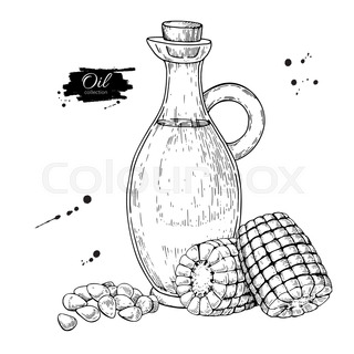 320x320 Oil Bottle Drawing. Vector Glass Pitcher With Cork Stopper. Hand