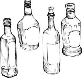 275x263 Set Of Hand Drawn Glass Bottles Image