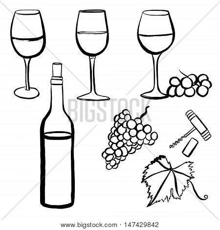 450x470 Vector Set Freehand Drawings Wine Vector Amp Photo Bigstock