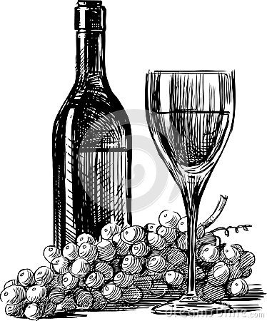 374x450 Wine Grapes Vector Drawing Bottle Glass Grape 30742246.jpg (374