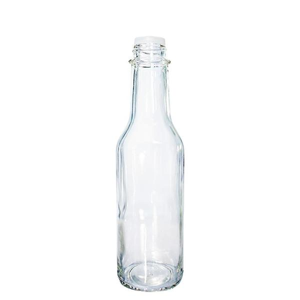 600x600 5 Oz. Clear Glass Hot Sauce Bottle With Black Cap And Orifice Reducer