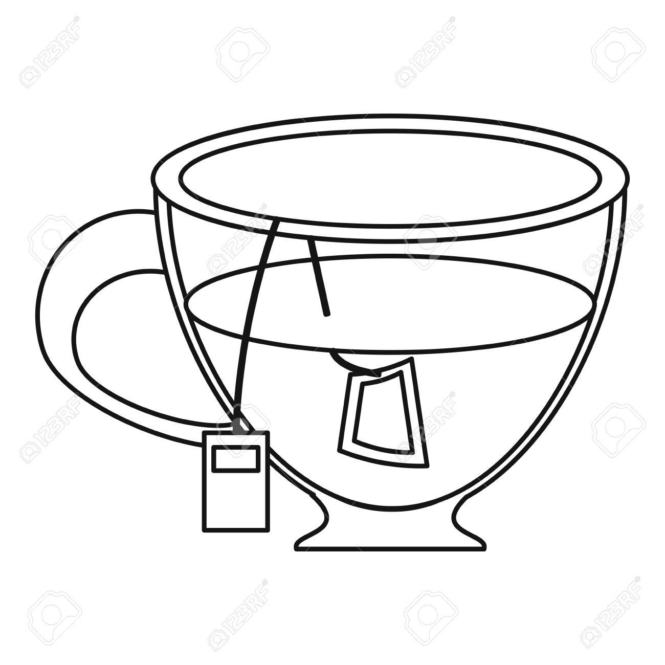 1300x1300 Glass Cup Tea Fresh Thin Line Vector Illustration Royalty Free
