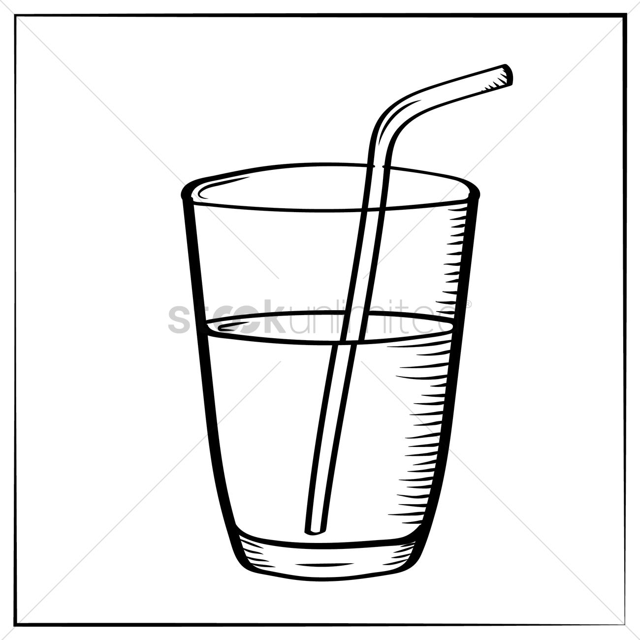 1300x1300 Glass With Straw Vector Image