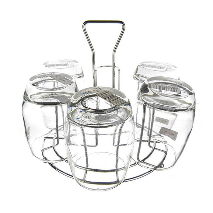 700x700 6 Cups Glass Cups Holder Coffee Tea Glass Cup Rack Storage Stand