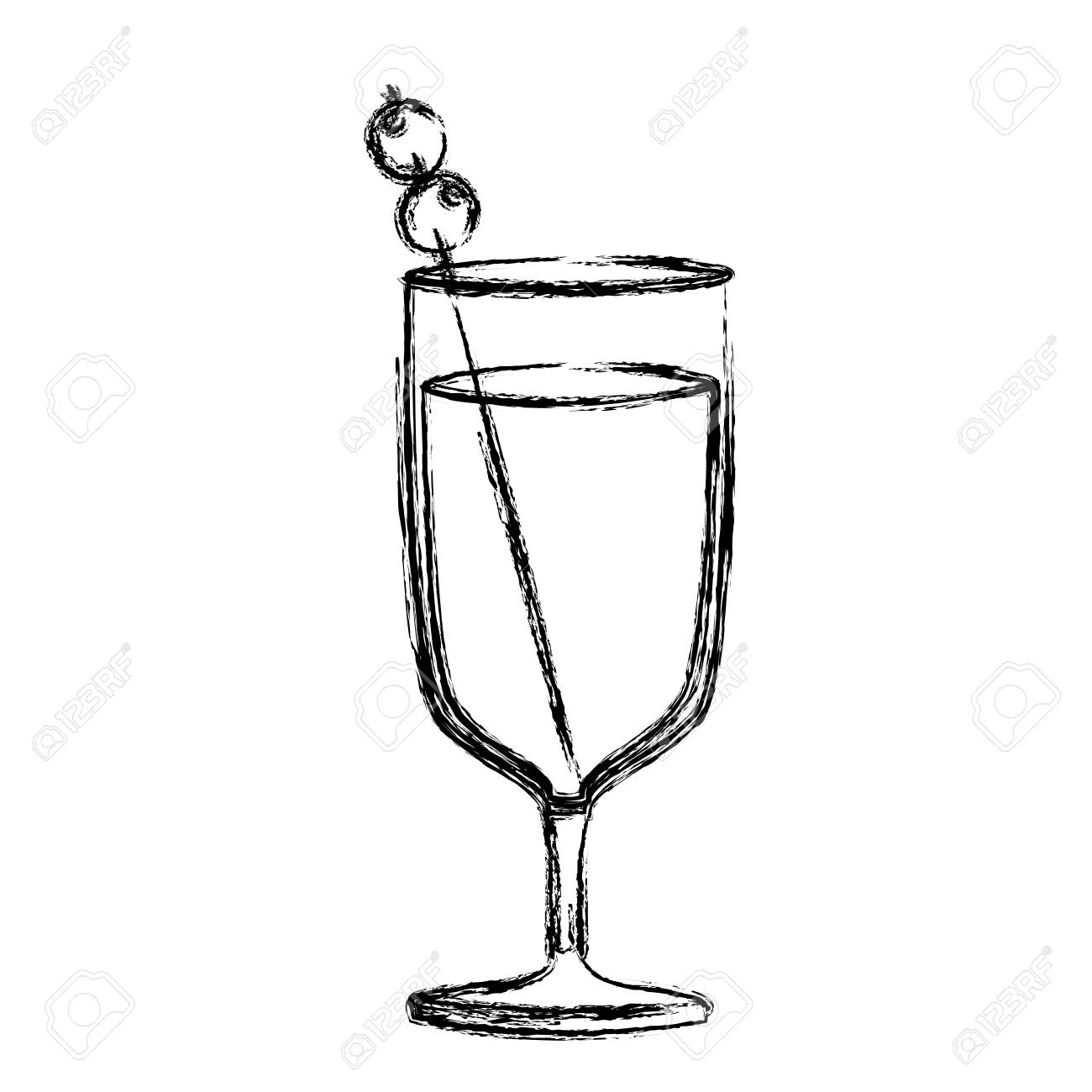 1300x1300 Monochrome Sketch Silhouette Of Glass Cup Cocktail Vector
