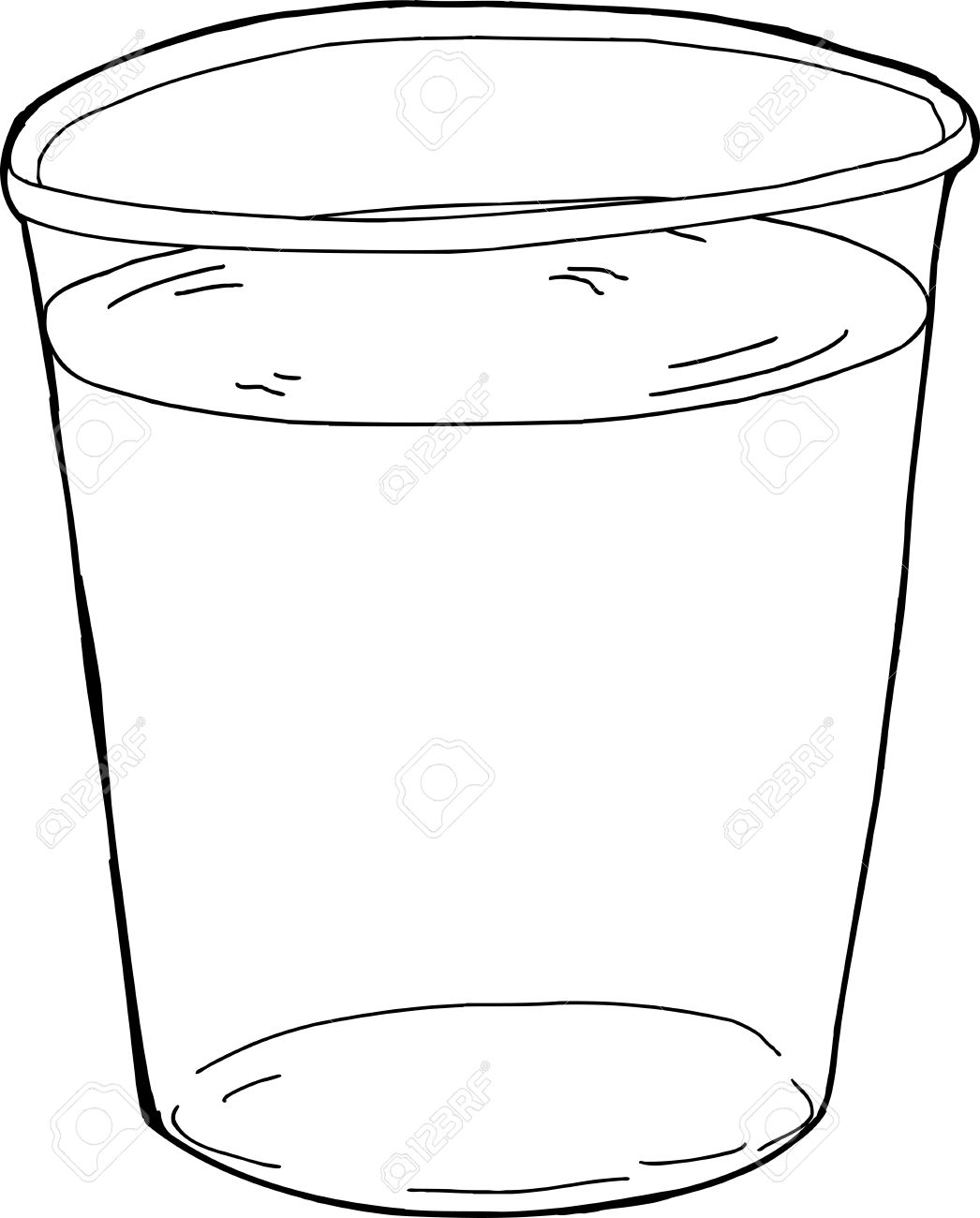 1046x1300 Outlined Single Plastic Cup Full Of Water Royalty Free Cliparts