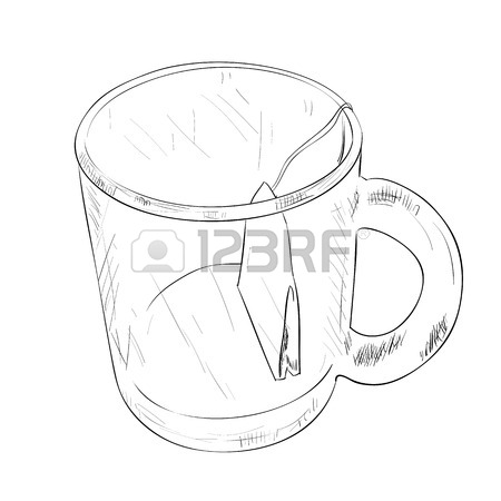 450x450 Vector Sketch Of A Glass Cup With A Spoon. Hand Draw Illustration