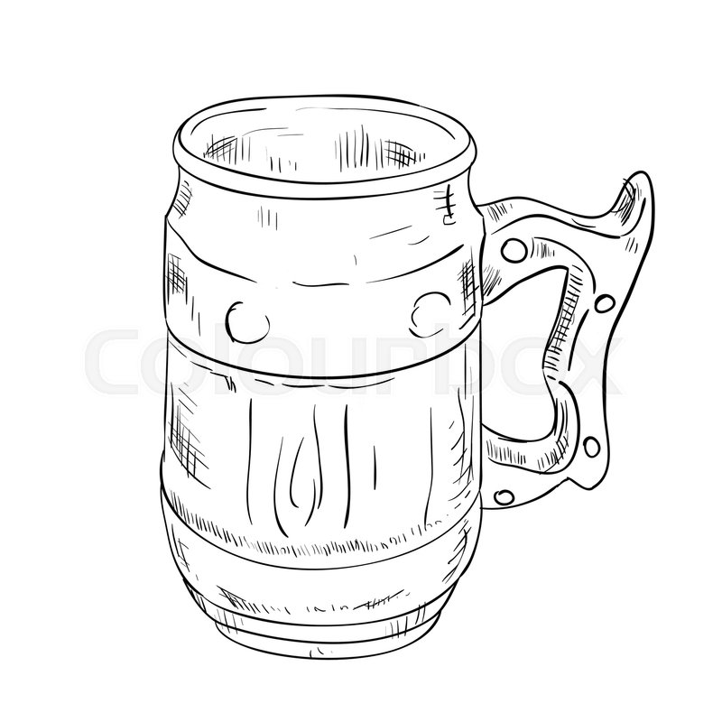 800x800 Vector Sketch Of Beer Glass. Hand Draw Illustration. Stock