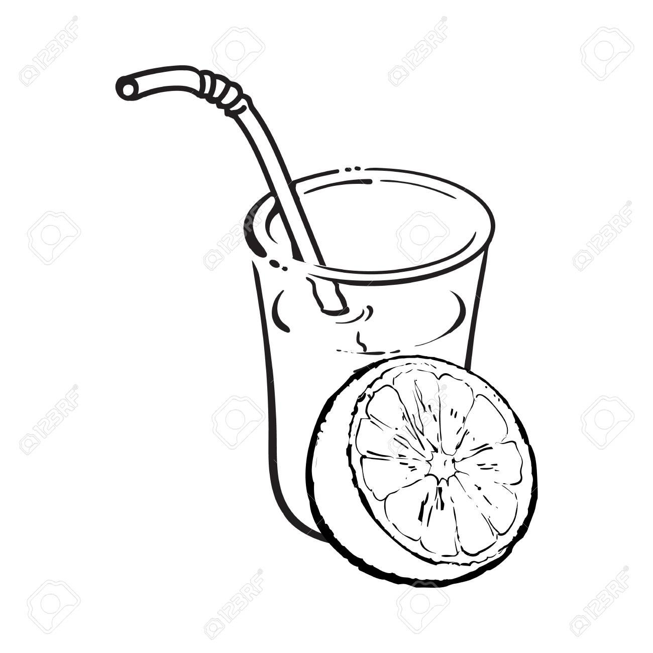 1300x1300 Glass Of Freshly Squeezed Juice With Half Of Orange, Sketch Vector