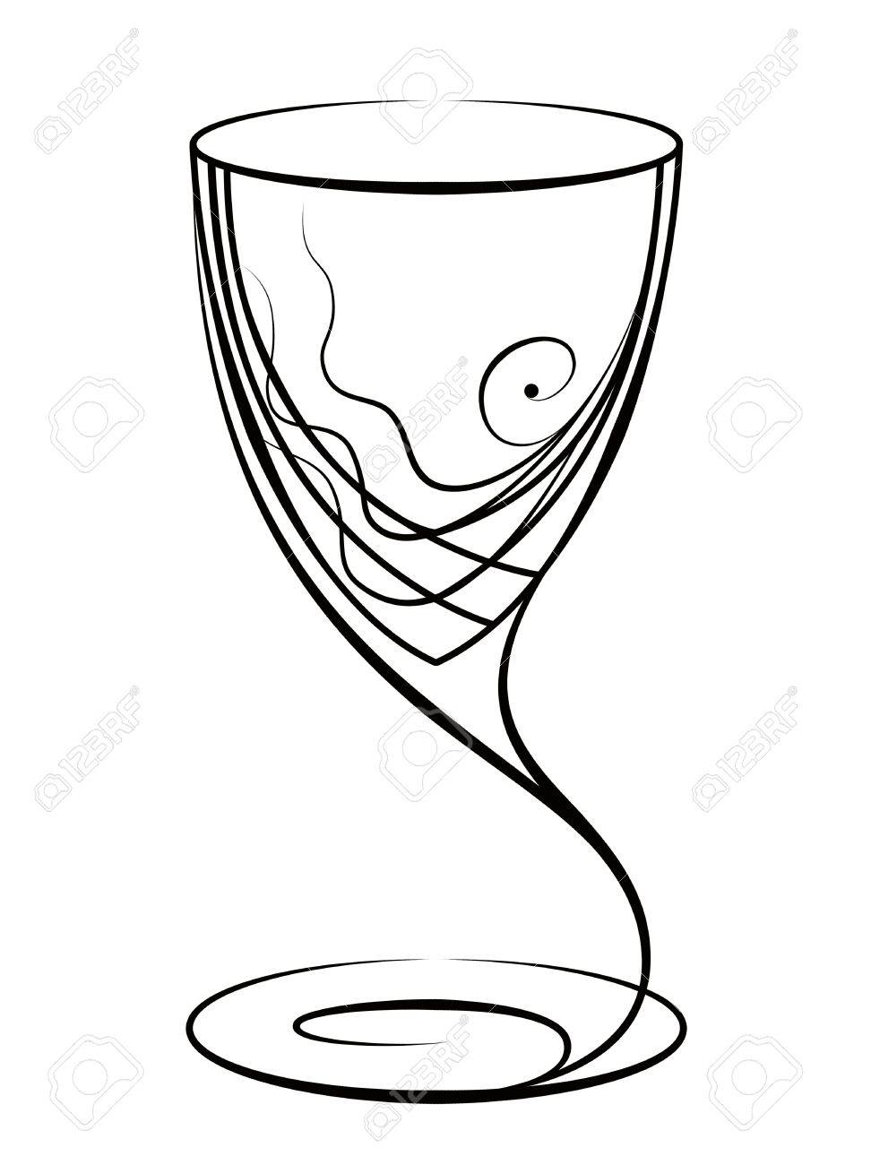 972x1300 Graphic Drawing Of A Glass For Wine Stock Photo, Picture