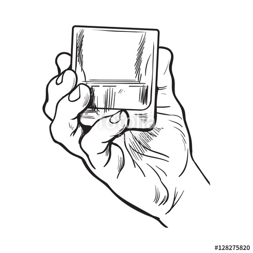 500x500 Hand Holding Full Glass Of Whiskey, Sketch Style Vector
