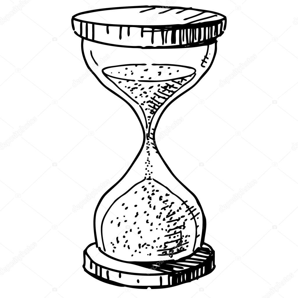1024x1024 Sand Glass Clock. Hand Drawing Cartoon Sketch Vector Illustration
