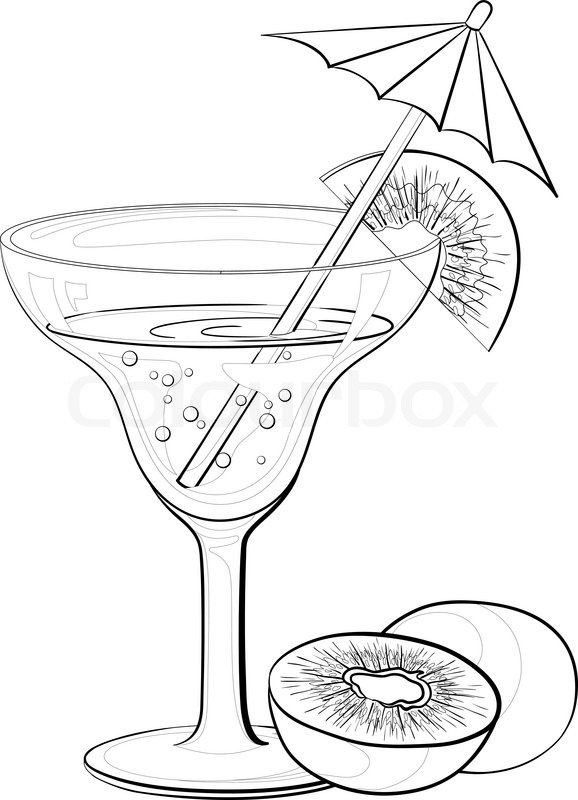 578x800 Transparent Glass With Drink, Kiwifruit And Straw With Umbrella